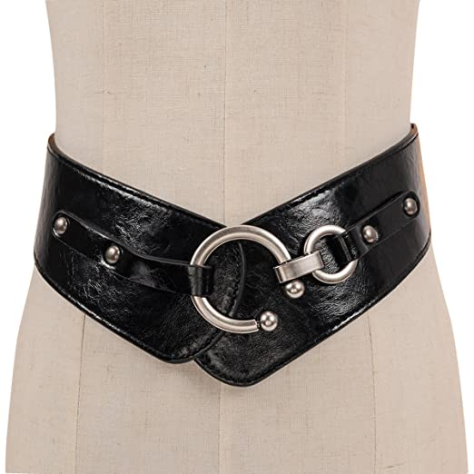Herebuy Vintage Leather Elastic Waist Belt Fashion Wide Belts For