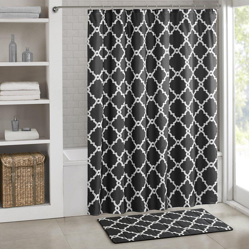 Grayson silver gray jacquard fabric cloth bathroom bath shower curtain - Amazon Com Merritt Reversible Memory Foam Rug Aqua 24x40 Home Kitchen