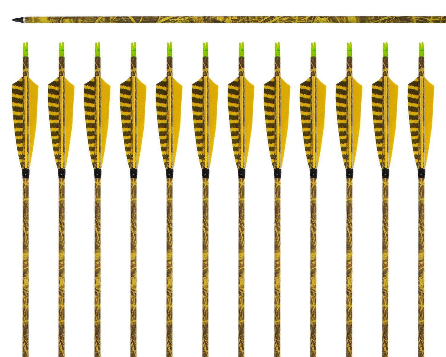ARCHERY SHARLY [12 Pack] 31Inch Carbon Arrow Practice Hunting Arrows with 5'' Camo Natural Feathers for Traditional Recurve Bow and Longbow
