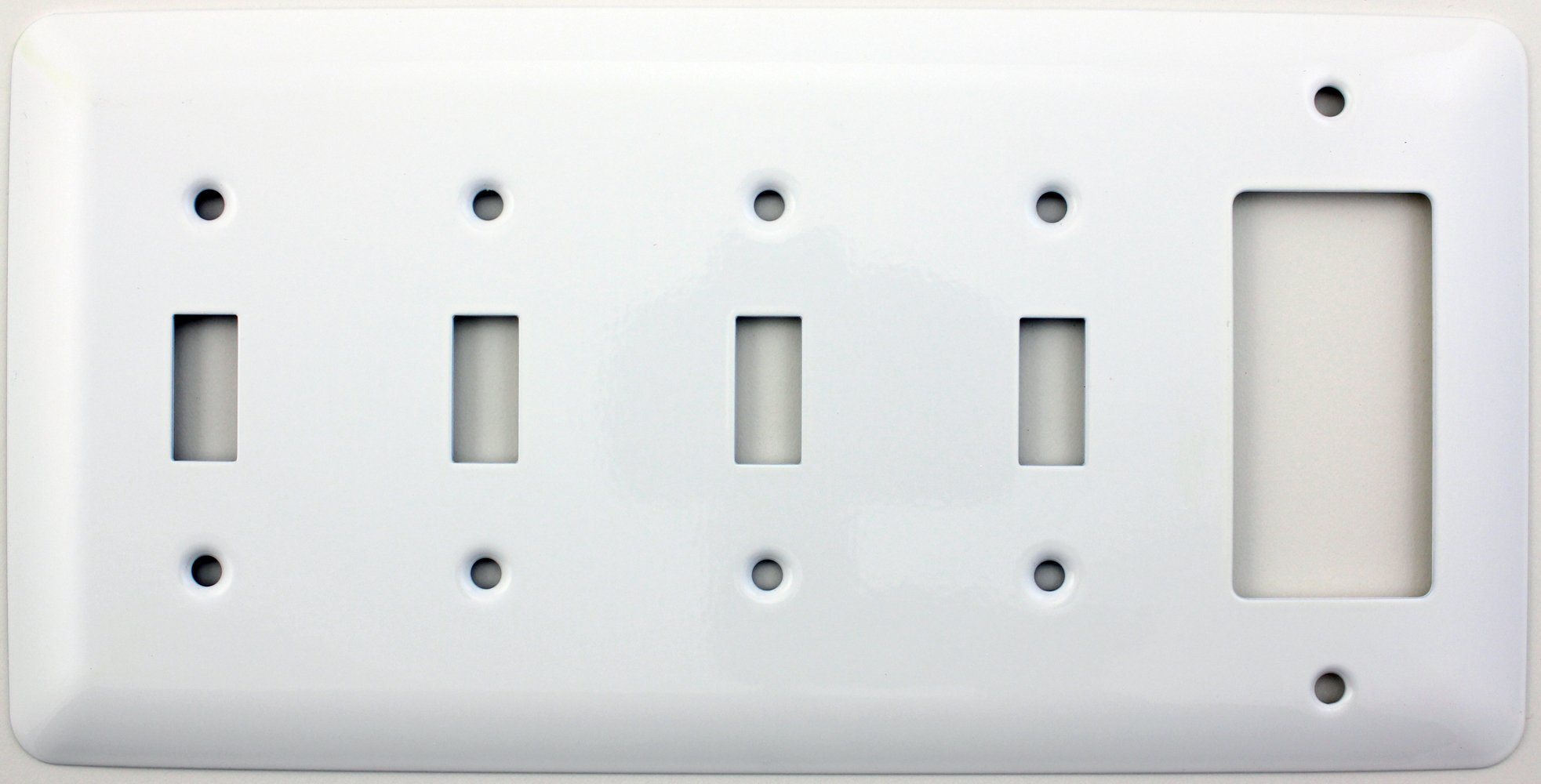 Mulberry Princess Style White 5 Gang Combination Switch Plate - 4 Toggle Light Switch Openings 1 GFI/Rocker Opening