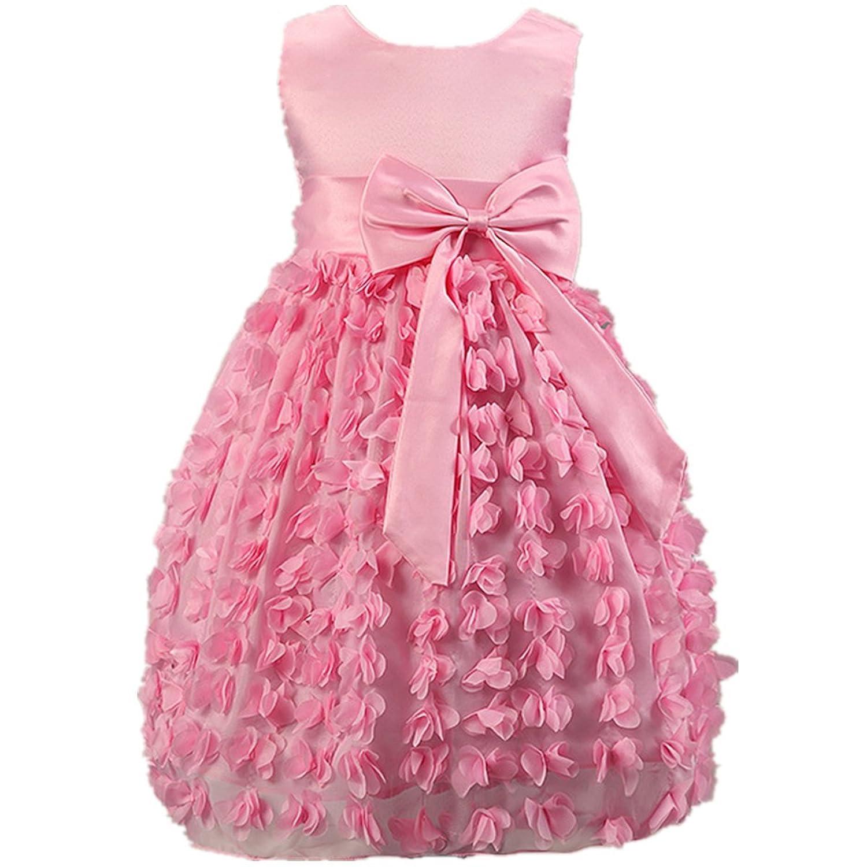 Fanessy Mädchen Kleid 3 Schichten Rosa Blume Welle Festzug Hochzeit kostüm mädchen