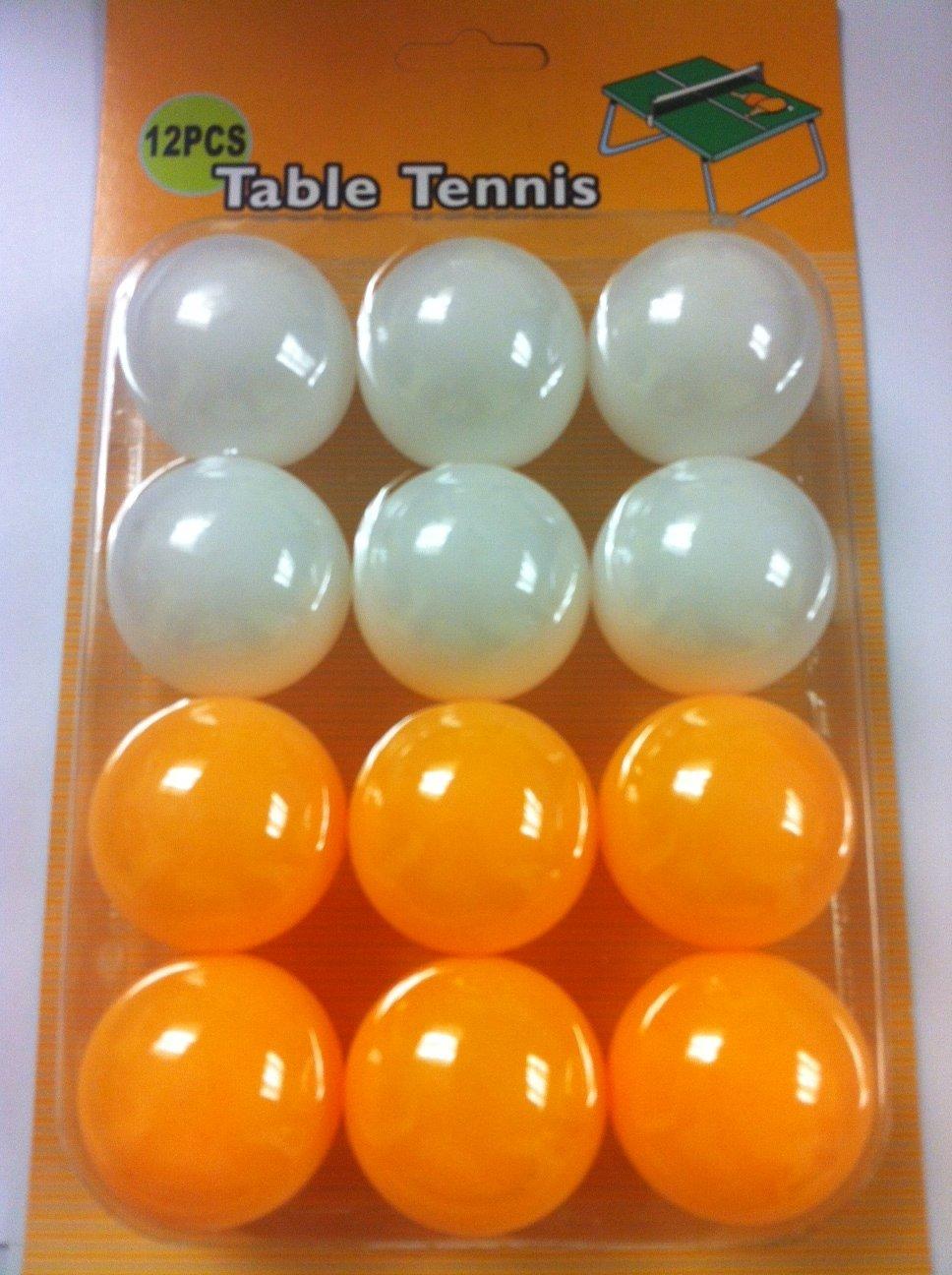 テーブルテニスボールホワイト/オレンジ( Pack of 12 ) B00EOH58I4