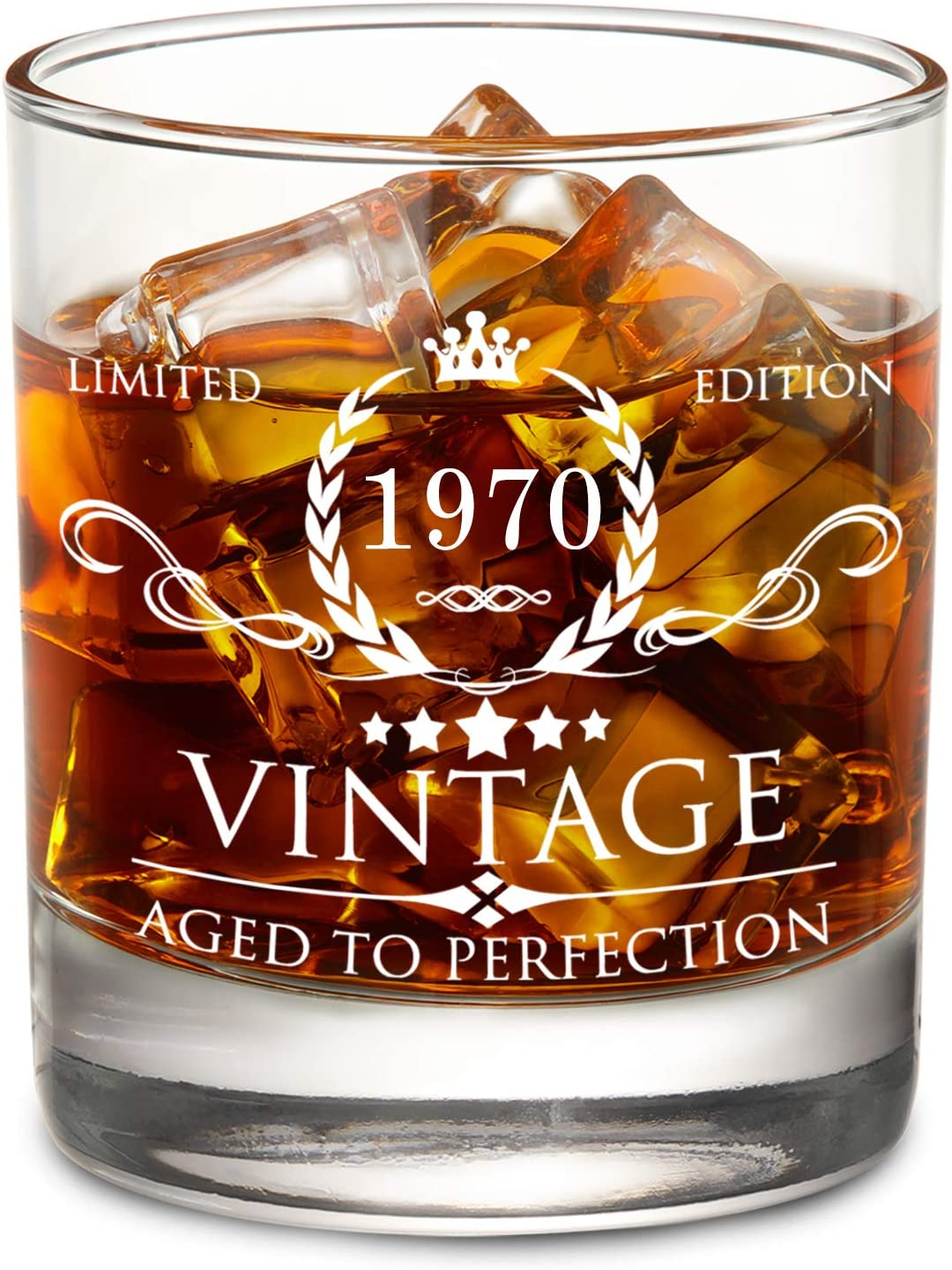 Amazon Com Aozita 50th Birthday Gifts For Men 1970 50th Birthday Decorations For Men Party Supplies 50th Anniversary Gifts Ideas For Him Dad Husband Friends 11oz Whiskey Glass Old Fashioned Glasses