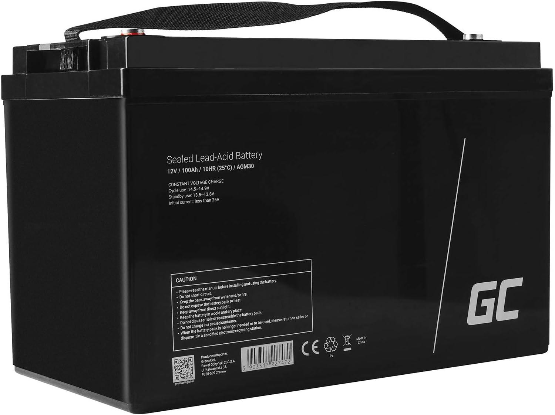 Green Cell Recambio de Batería Gel AGM 12V 100Ah Rechargeable Pila Sellada de Plomo ácido batería sin Mantenimiento Batería de Reemplazo para Carro de Golf Solar Sillas de Ruedas