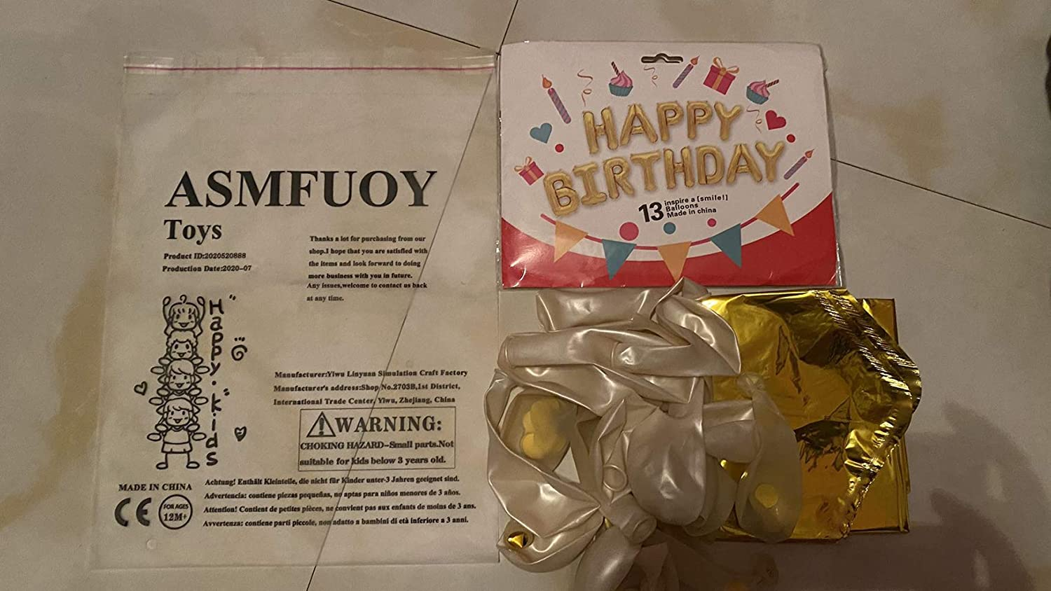 ASMFUOY 23 Pcs//Set Gold Happy Birthday Play Balls and Play Balloons Set with Confetti Balloon for Birthday Party Decorations