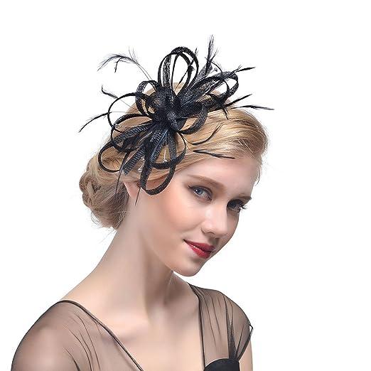 Zhisheng You Women Vintage Derby Fascinator Hat Pillbox Headband 1920s  Cocktail Tea Party (Black) e1ef717f9af