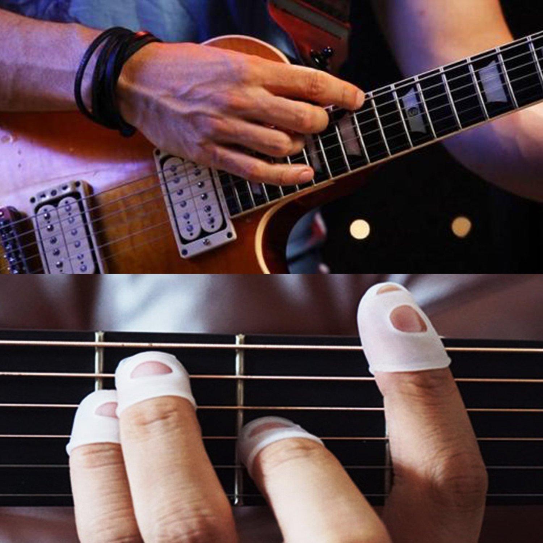 15 Protectores de Yema del Dedo transparentes con 5 púas(0.46mm) de guitarra para Bajo Guitarra Bajo Ukulele Silicona Instrumento: Amazon.es: Instrumentos ...