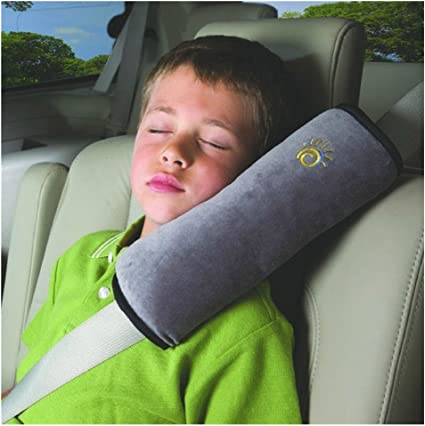 Grey Car Kids Safety Strap Cover Harness Pillow Shoulder Seat Belt Pad Cushion