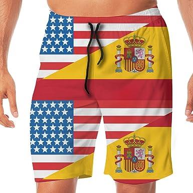 sheho Mitad de EE. UU. Media Bandera de España Hombres Trajes de baño Pantalones Cortos para el Tablero Trajes de baño Trajes de baño para Causal Diario, Tamaño L: Amazon.es: Ropa y
