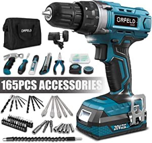ORFELD Cordless Drill, Power Drill, 20V Max Lithium-ion Battery, Japanese High-tech Digital Motor, 165pcs Accessories, 19+1 Clutch, 2 Variable Speed, Built-in LED, Home Tool Kit for Beginner