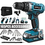 ORFELD Cordless Drill, Power Drill, 20V Max Lithium-ion Battery, Japanese High-tech Digital Motor, 165pcs Accessories…