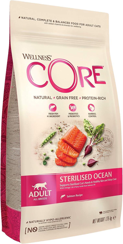 Wellness CORE - Salmón esterilizado para Comida de Gato sin Grano seco, 1,75 kg