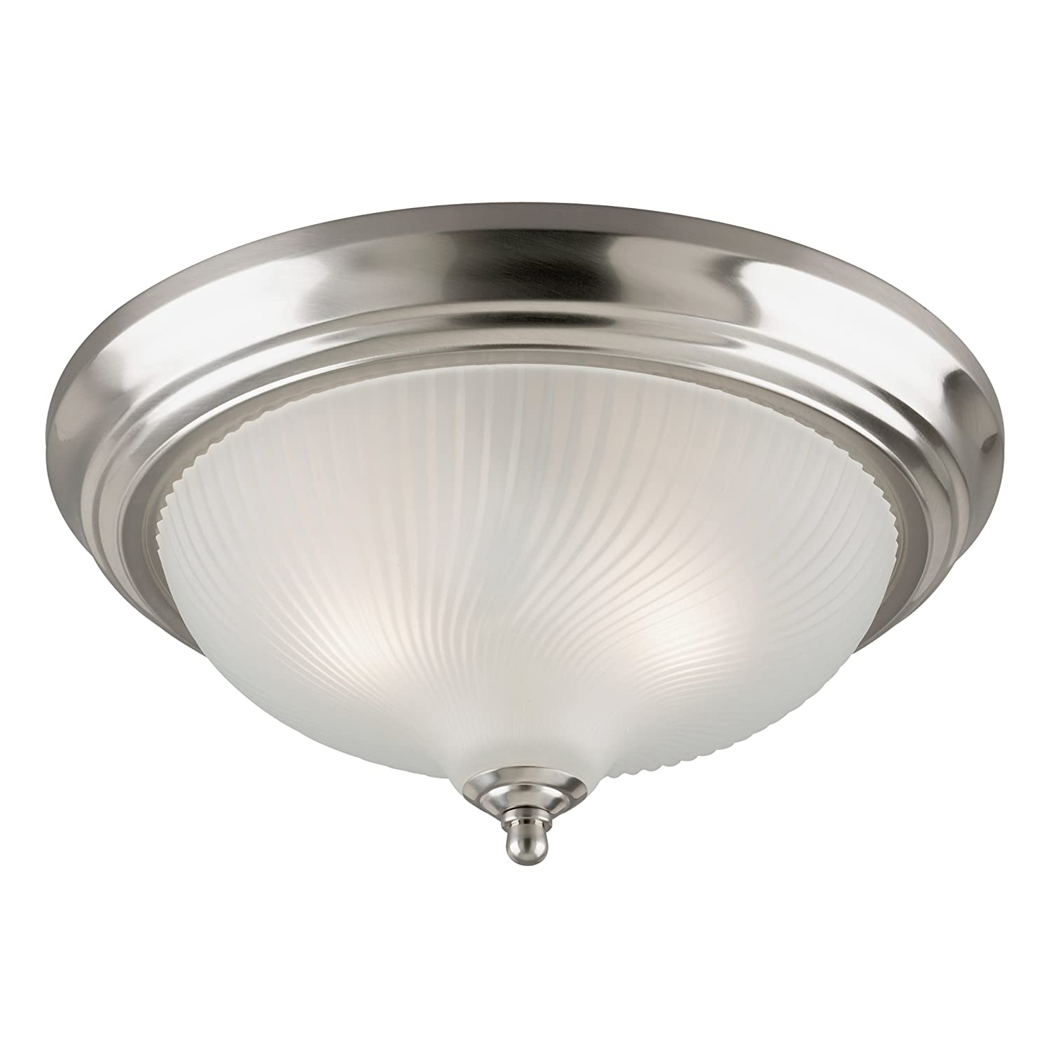 Westinghouse 6430600 Three-Light Flush-Mount Interior Ceiling Fixture, Brushed Nickel Finish with Frosted Swirl Glass