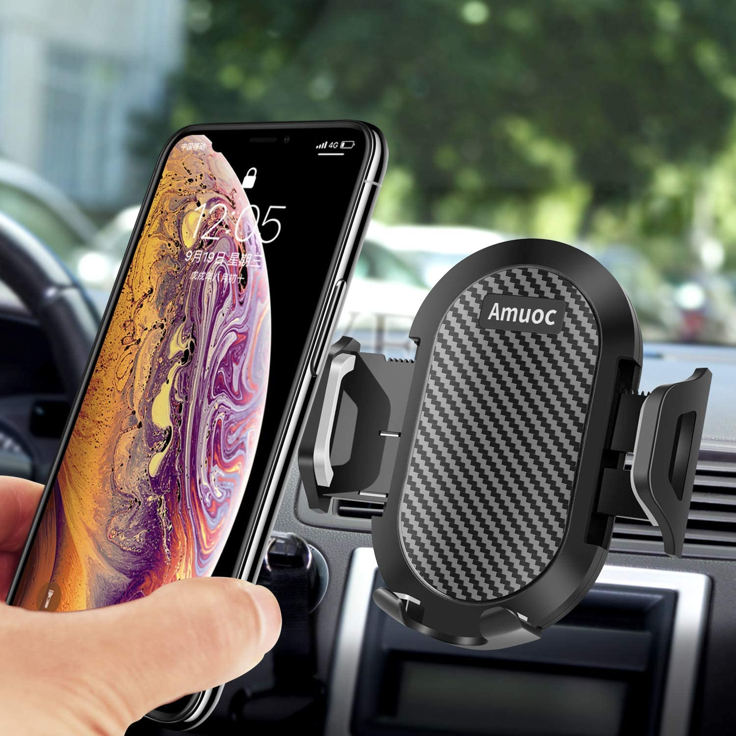 Samsung Black Anti-Slip Desk Phone Stand Compatible with iPhone Amuoc Car Mount GPS Devices and More. Android Smartphones Car Phone Mount Silicone Car Pad Mat for Various Dashboards