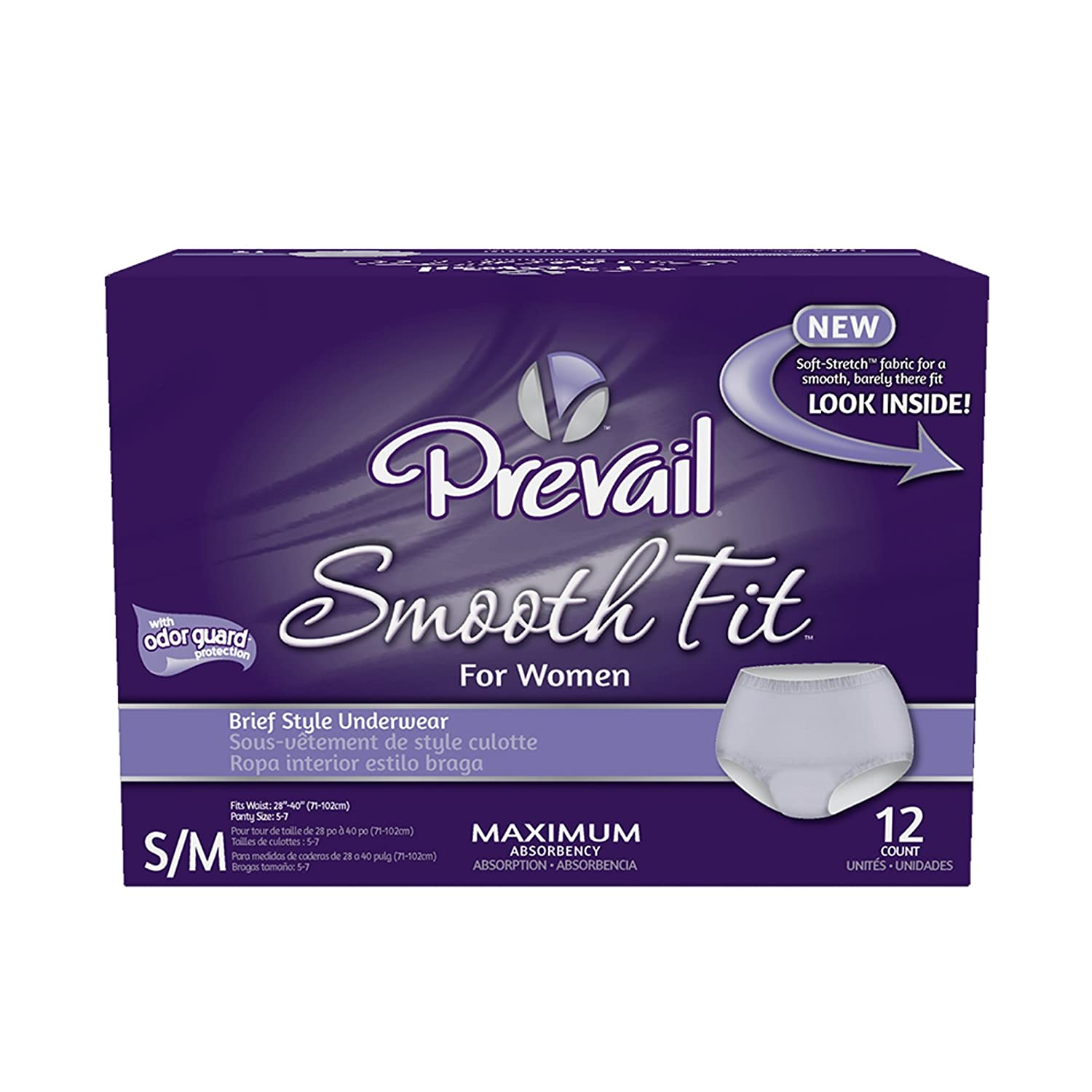 Amazon.com: Prevail Maximum Absorbency Smooth Fit Incontinence Underwear for Women, Small/Medium, 12-Count: Health & Personal Care