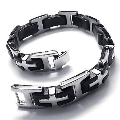 Amazon Com Mendino Mens Cross Bracelet Stainless Steel Rubber