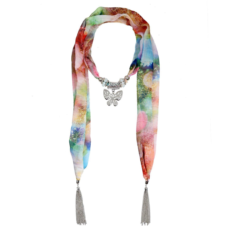 Lureme® estilo bohemio de la vendimia tono de metal rodio con grandes borlas tallados de mariposa bufanda del collar para la impresión (01003160-2)marrón y verde Yida