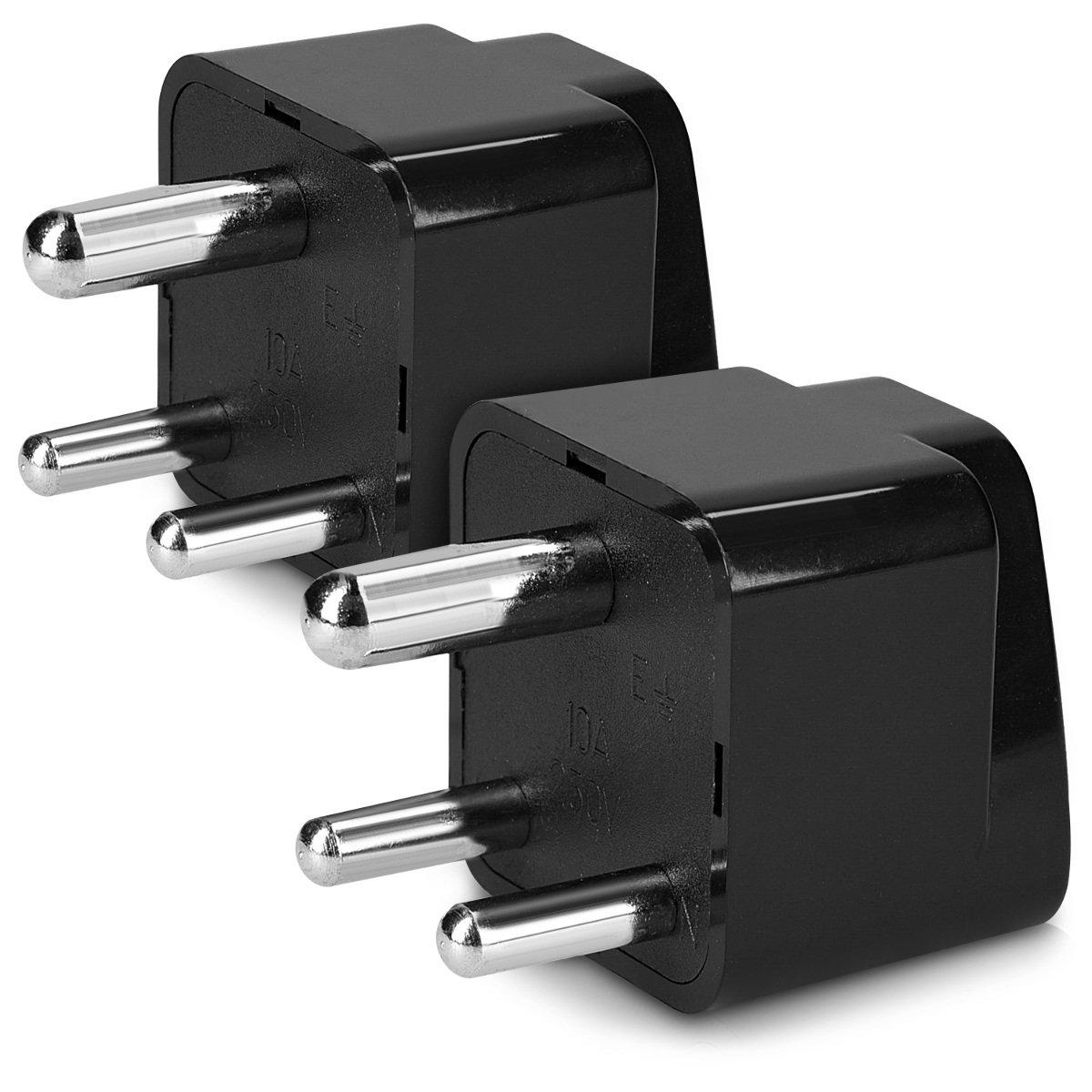 kwmobile 2x adattatore da viaggio universale Tipo D - Adapter elettrico per presa Type D India Sri Lanka Nepal Emirati Arabi Congo - nero KW-Commerce 45236.05_m000133