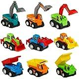 Macchinine Bambini Mini Auto Giocattolo Modellini Bulldozer Escavatore Giochi Veicoli per Bambini, 9 Pezzi