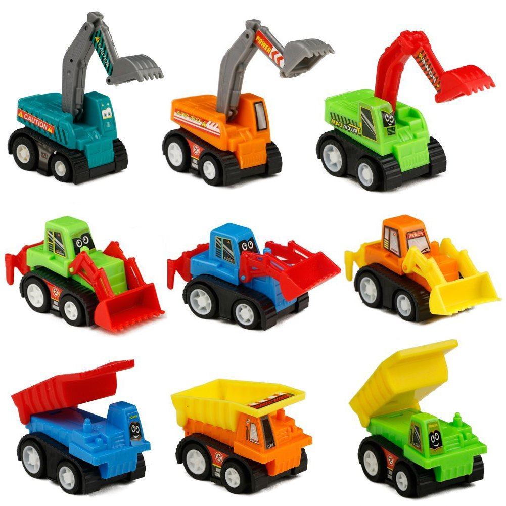 Construction Vehicles Car Toys Mini, Small Model Party Cake Decorations Pull Back Toy Car, Digger Bulldozer Dumper Truck Toys for 3 Year Old Boys Girls Kids, 9Pcs