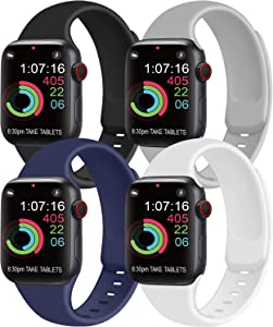 [Pack 4] Compatible with Apple Watch Bands 40mm 38mm for Women Men, Soft Silicone Bands Compatible with iWatch Series 6 5 4 3 2 1 & SE (Black/Gray/Navy Blue/White, 38mm/40mm-S/M)