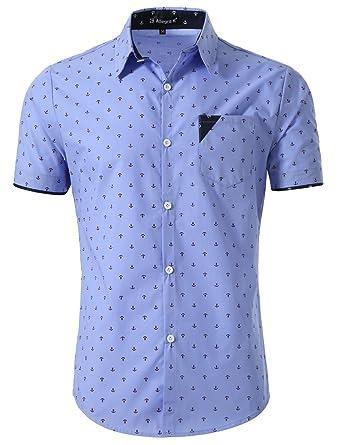8d502c45fc8 uxcell Men Button Down Short Sleeve Anchor Pattern Casual Shirt Small Blue