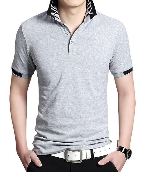 1a5e163a424 Sanifer Men s Collared Shirt Summer Casual Short Sleeve Slim Fit Polo  Shirts T Shirts (US