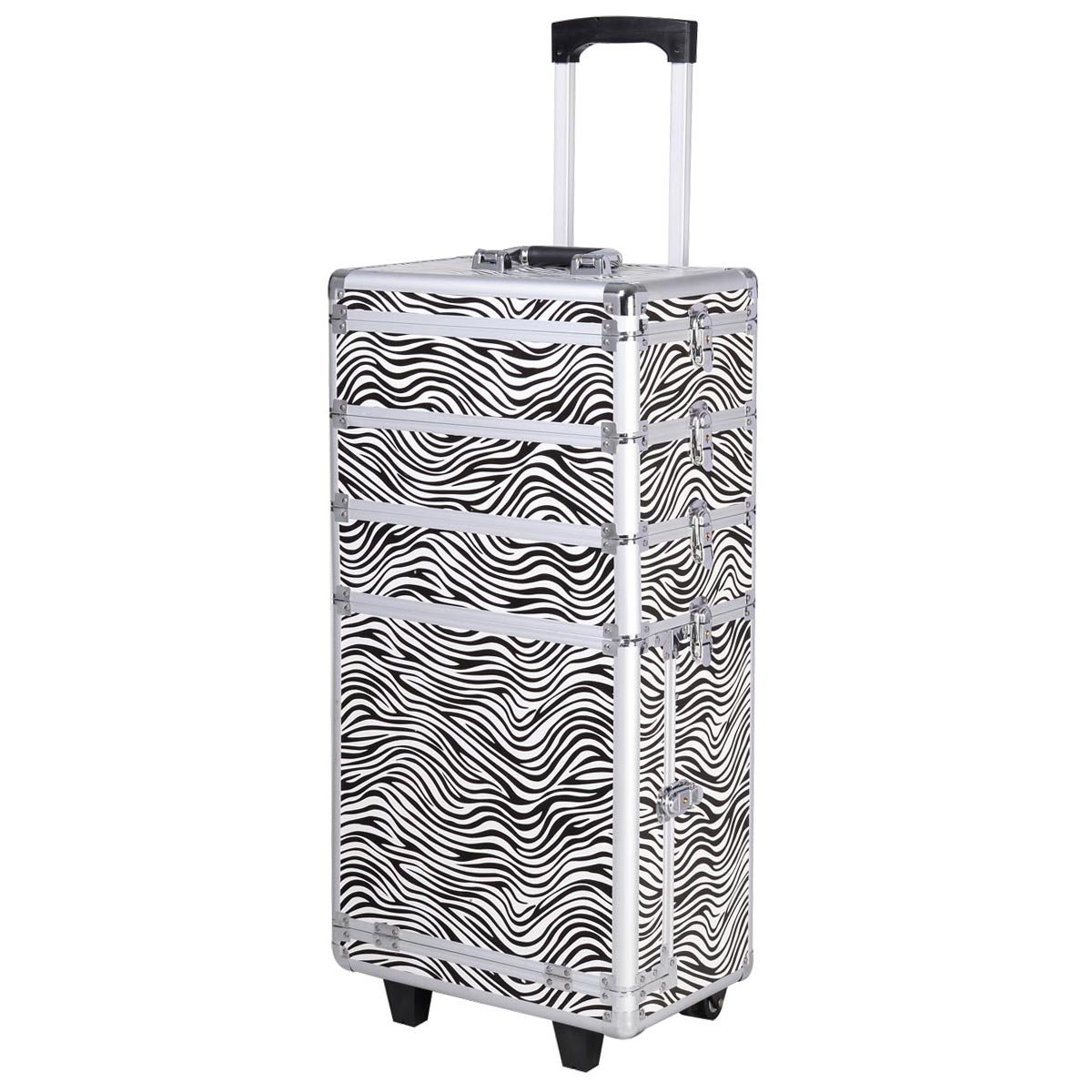 Amazoncom Giantex In Interchangeable Pro Aluminum Rolling - Aluminum trolley case pro rolling makeup cosmetic organizer