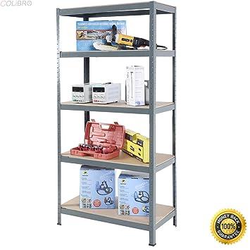 COLIBROX  72u0026quot; Heavy Duty Steel 5 Level Garage Shelf Metal Storage  Adjustable Shelves