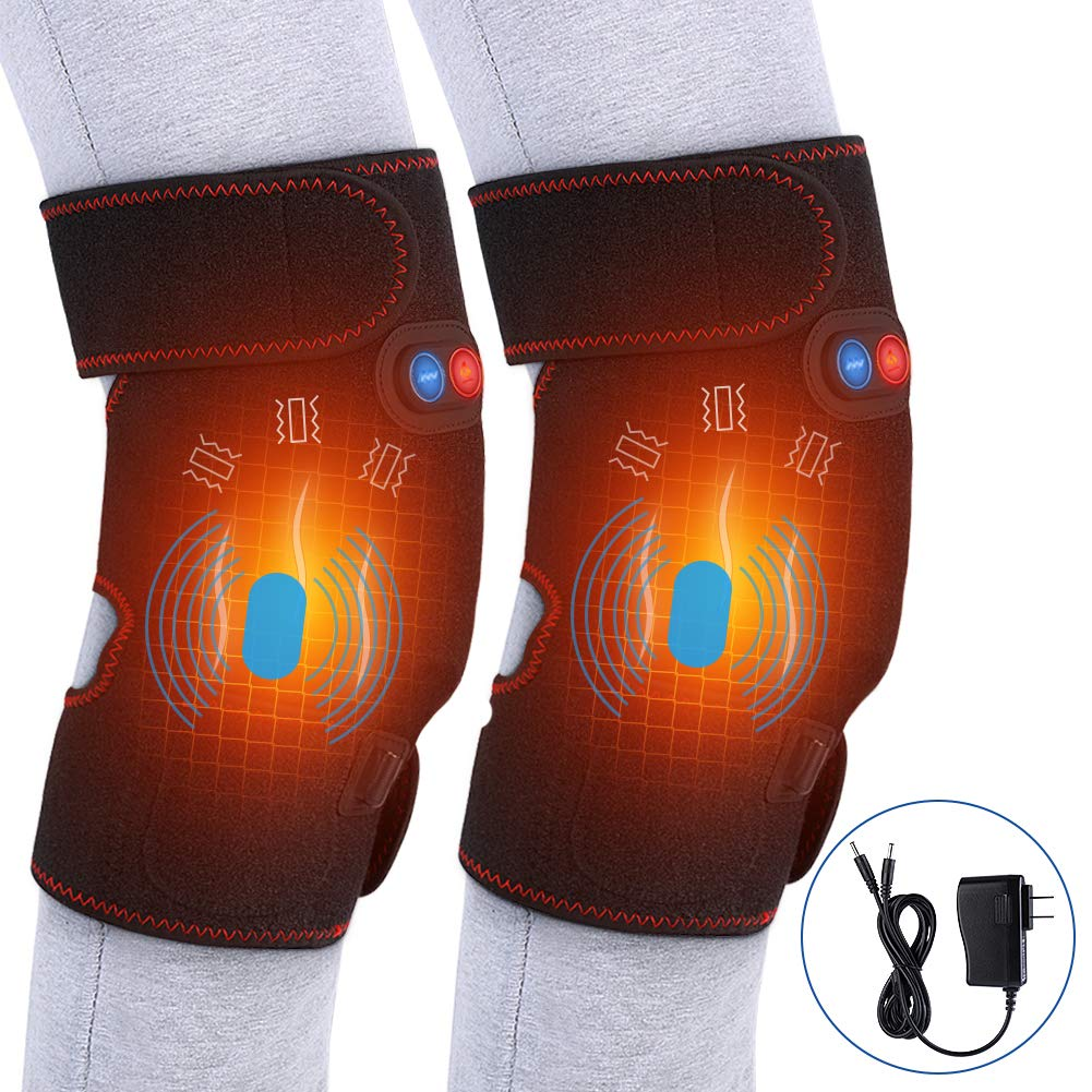Heated Massage Knee Brace for Men and Women, Adjustable Heated and Massage Knee Heating Pad Thermal Heat Therapy Wrap Hot Compress for Cramps Arthritis Pain Relief Injury Recovery (1 Pair) by Yosoo Health Gear
