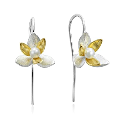 53c096ba9 Amazon.com: Two Tone Cultured Freshwater Pearl Orchid Gold Plated ...