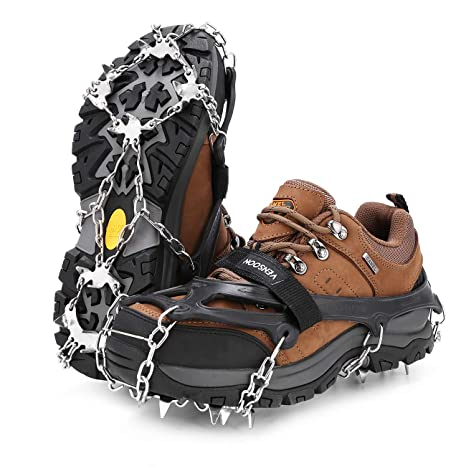 cbb3ba95605d Amazon.com : Vensoon Traction Ice Cleats - Ice Grips for Shoes 19 Spikes  Crampons for Boots Running Shoes Walking On Ice Snow Easy Slip On Stainless  Steel ...