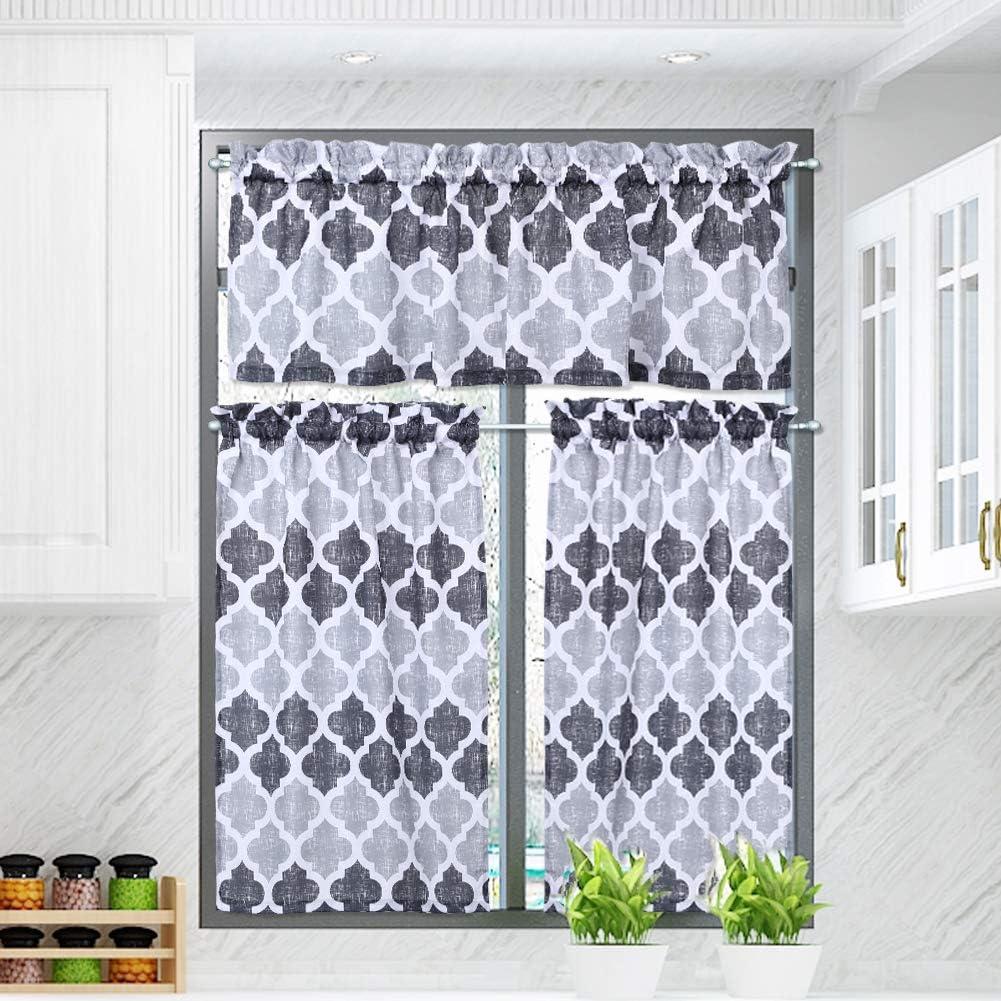 Valances and Tiers 3 pcs Set Linen Look Geometric Trellis Print Bathroom Curtains//Cafe Small Window Curtain Set Beige Quatrefoil Kitchen Curtain Rod Pocket Moroccan Kitchen Curtains 24L Grey