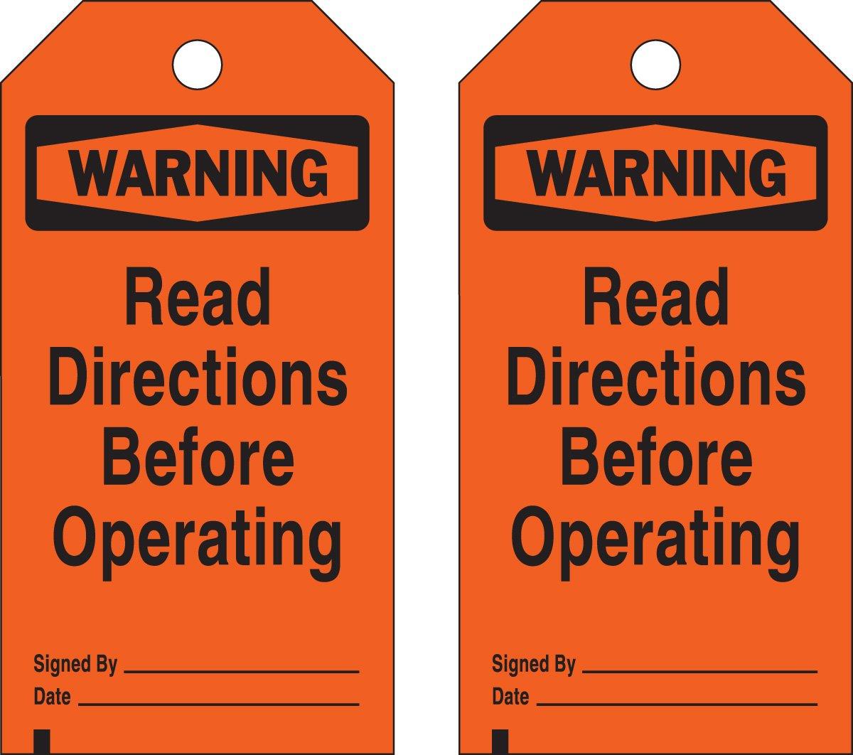 Black//Orange//White Brady 37975 B140 Safety Signs