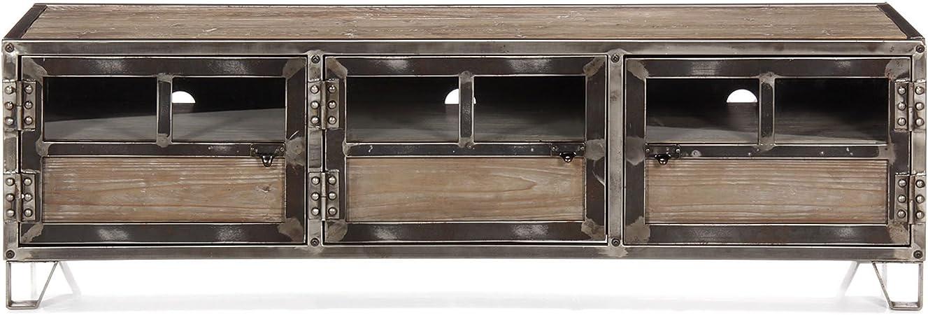 Alinea Ware Meuble Tv En Pin Acier Et Verre Naturel 150 0x45 0x45 0 Amazon Fr Cuisine Maison