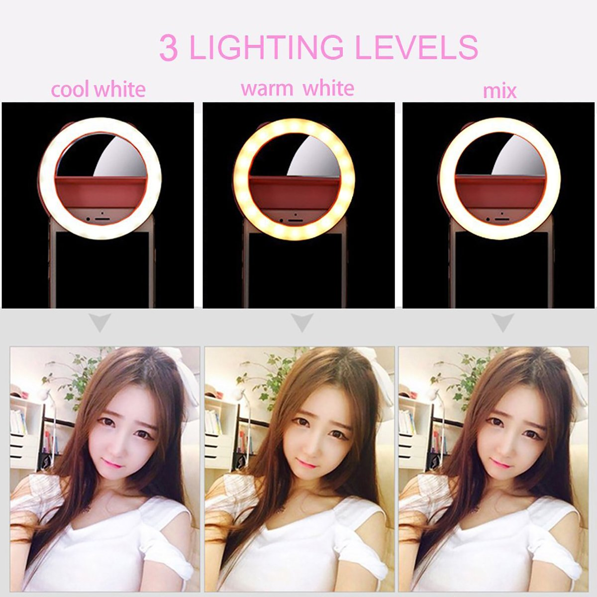 YIIYAA Selfie Light Ring, Portable Rechargeable Mini 40 Highlight LED Selfie Ring Flash Fill Light with Makeup Mirror 2 Gears Brightness Camera Photography for iPhone Adroid Tablet iPad Laptop Pink