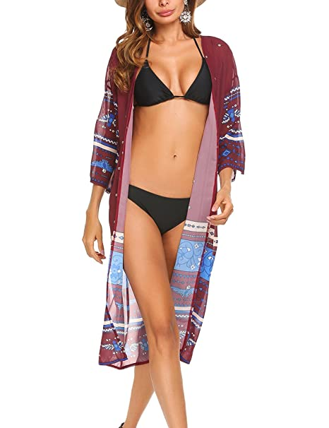 377abdbd94 Teewanna Womens Boho Print Baggy Swimwear Bikini Cover-UPS Beach Dress  (Wine Red&Blue,