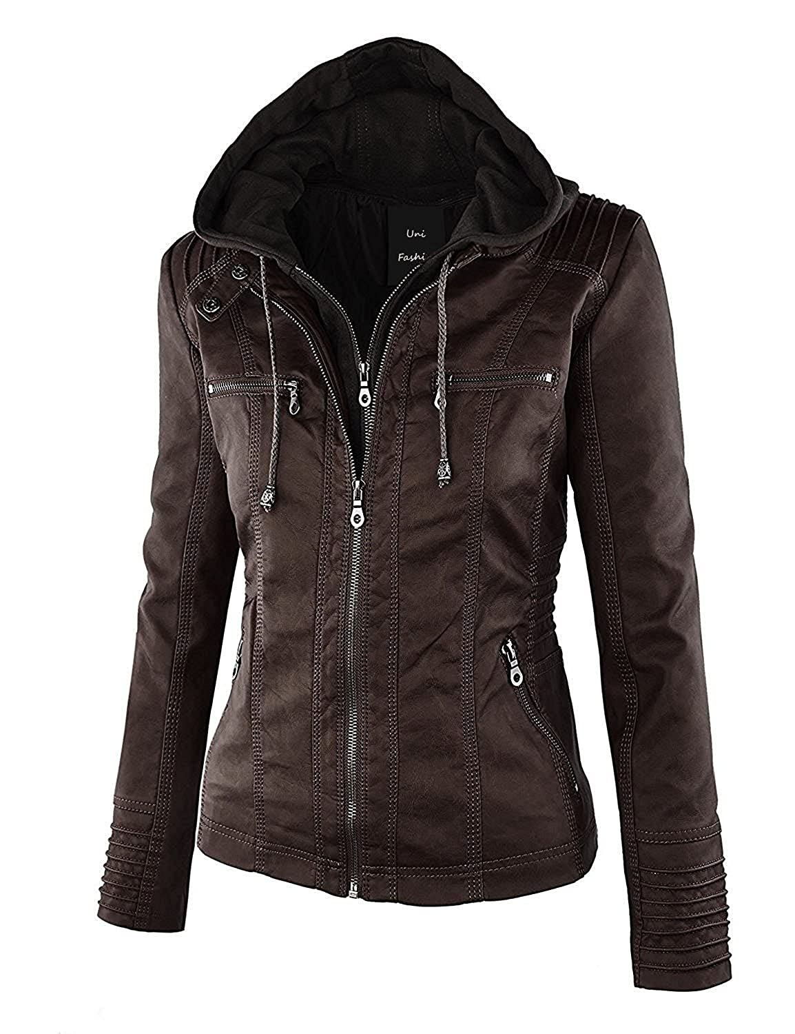 Brown1 Unifashion Womens Hooded Faux Leather Slim Jacket (XS7XL)