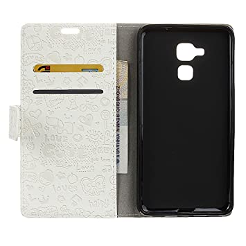 BQ Aquaris V Plus Funda Faux Cuero Billetera Funda para BQ Aquaris V Plus con Stand Función(Blanco)