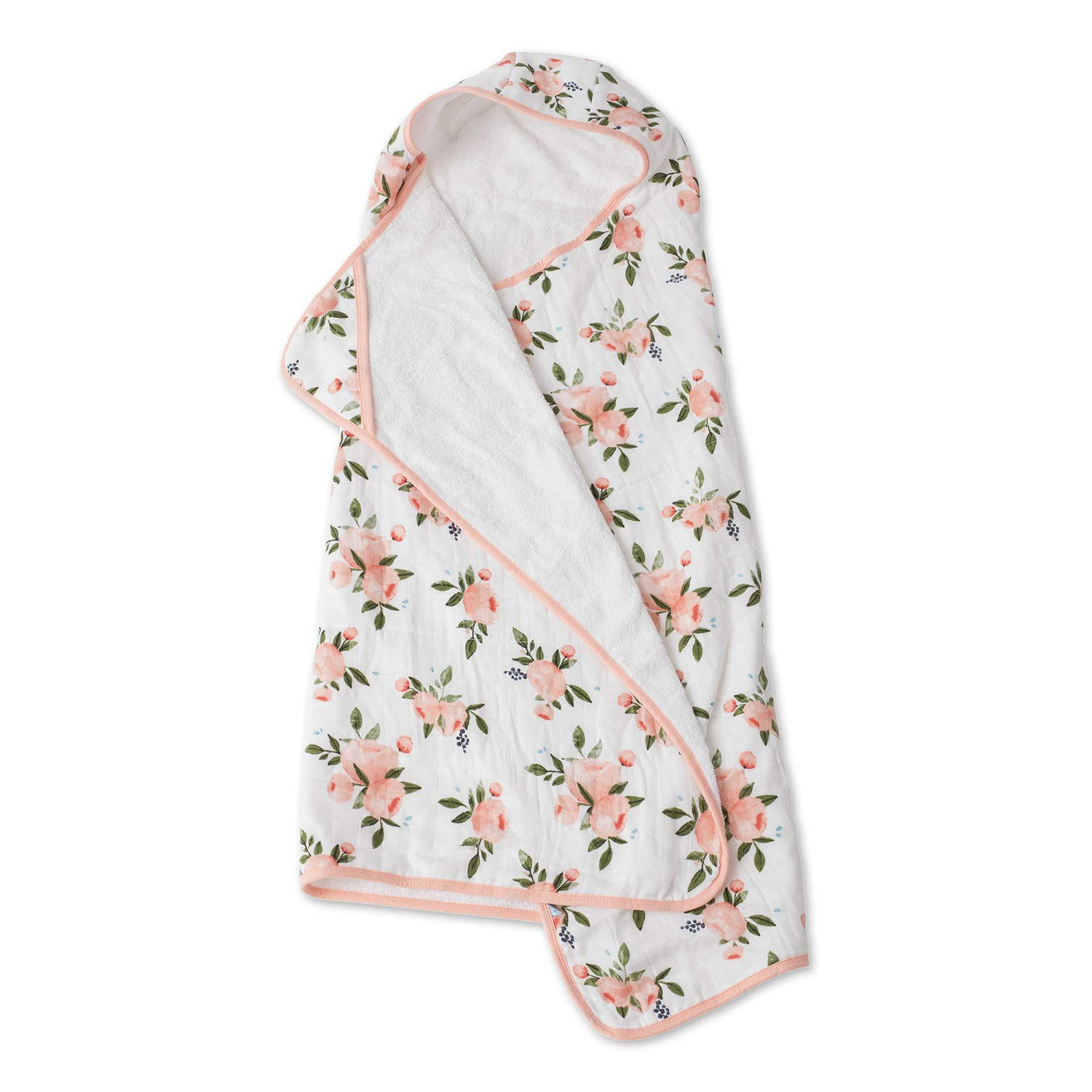 Little Unicorn Large Cotton Hooded Towel - Watercolor Roses by Little Unicorn