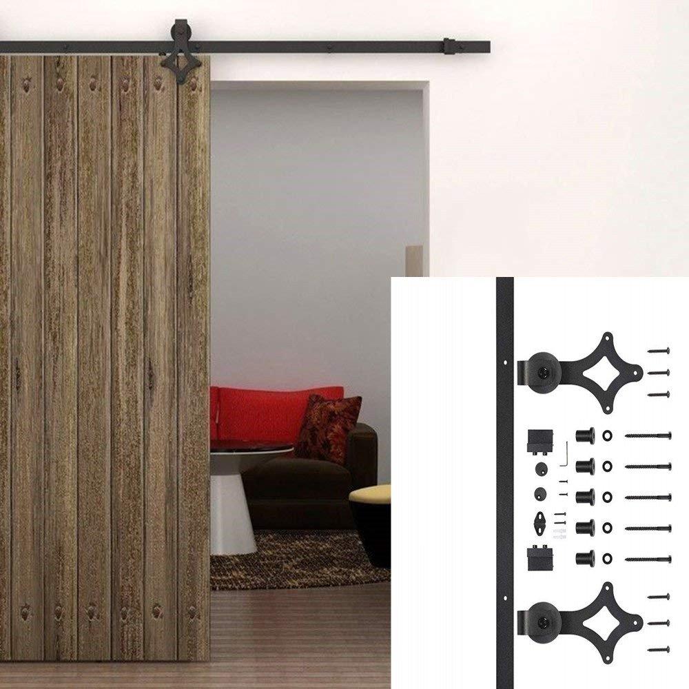 Kinshops 6 ft facile /à installer acier Rails Hardware Carbon Steel Armoire rail Kit pour chaque Porte Portes Coulissantes Coulissantes Syst/ème porte coulissante