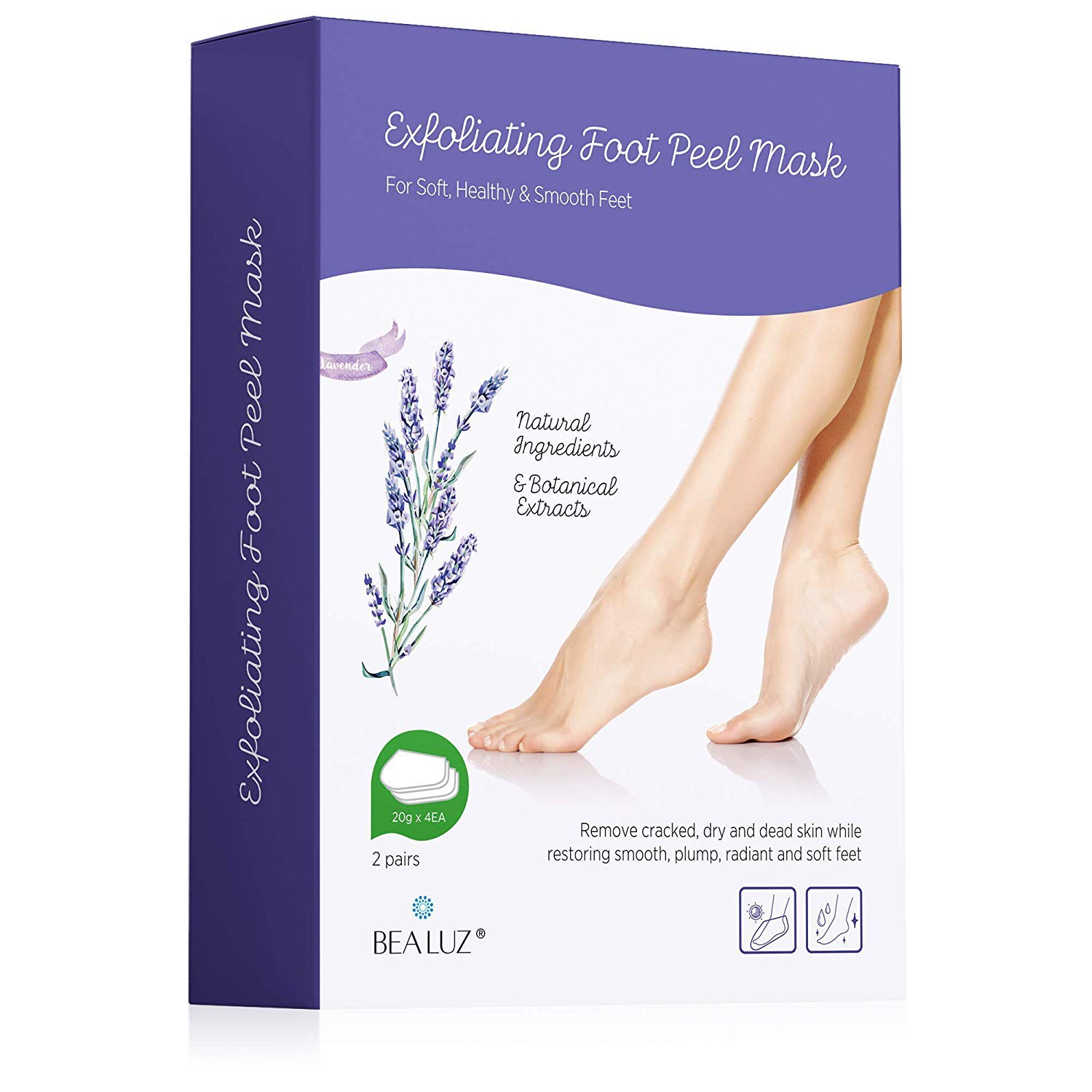 2 Pairs Foot Peel Mask Exfoliant for Soft Feet in 1-2 Weeks, Exfoliating Booties for Peeling Off Calluses & Dead Skin, For Men & Women Lavender by Bea Luz by Bealuz