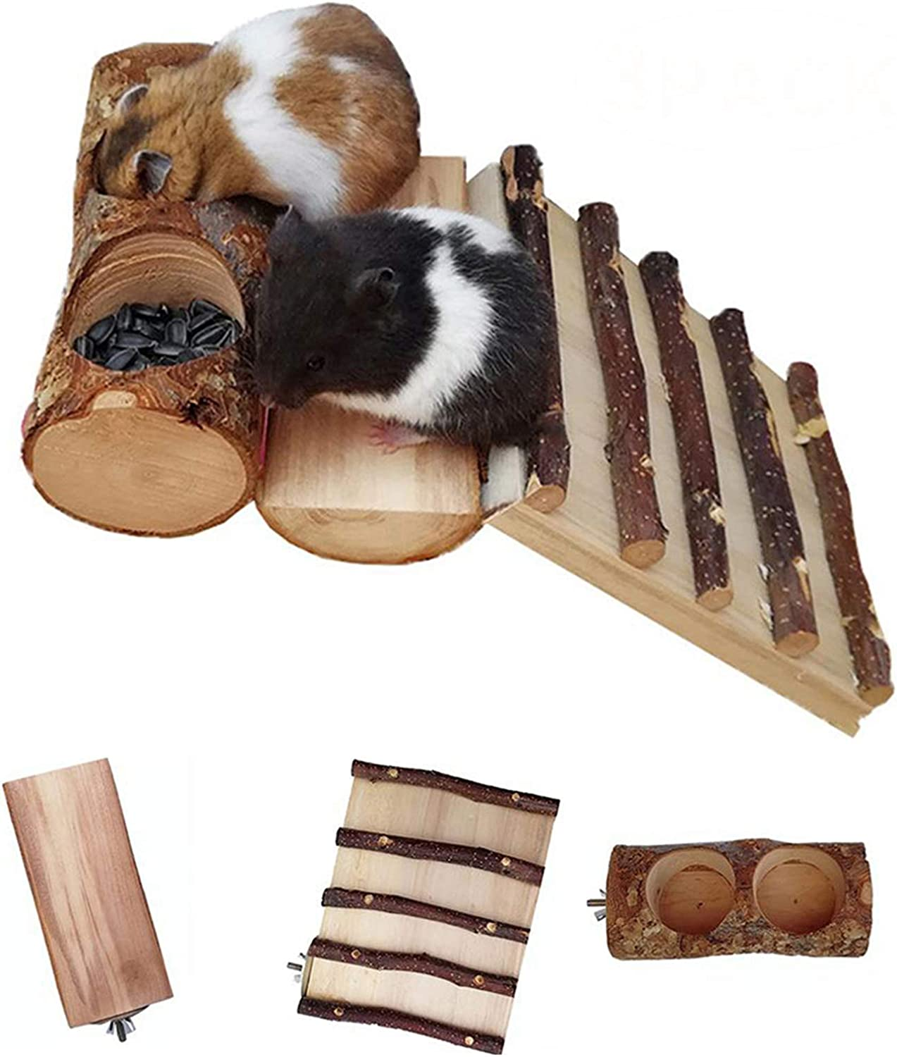 Dwarf Hamster Climbing Ladder Toys, Natural Apple Wood Small Animals Platform with Feeder Bowls, Pet Chew Grinding Teeth Ideal for Chinchilla Rats Mouse(3 Packed)