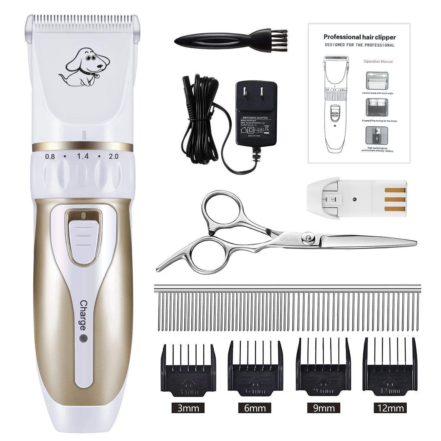IREENUO Professional Electric Pet Grooming Clippers, Rechargeable Cordless Pet Hair Shaver, Grooming Trimmer Kit Low Noise Low Vibration 4 Comb Guides Cleaning Brush