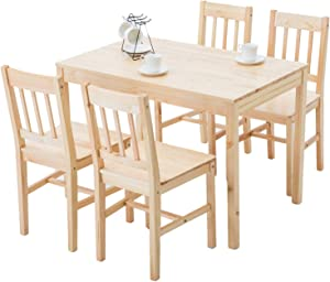 mecor 5 Piece Kitchen Dining Table Set, 4 Wood Chairs Dinette Table Kitchen Room Furniture, Burlywood