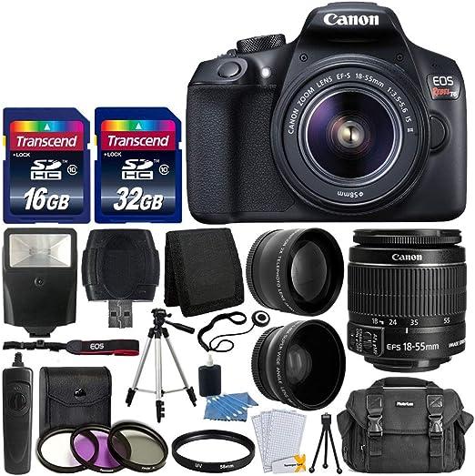 Amazon Com Canon Eos Rebel T6 Digital Slr Camera With 18 55mm Ef S F 3 5 5 6 Is Ii Lens 58mm Wide Angle Lens 2x Telephoto Lens Flash 48gb Sd Memory Card