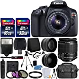 Canon EOS Rebel T6 Digital SLR Camera with 18-55mm EF-S f/3.5-5.6 is II Lens + 58mm Wide Angle Lens + 2X Telephoto Lens…