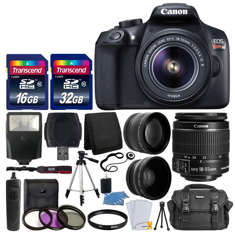 canon-eos-rebel-t6-digital-slr-camera-with-18-55mm-ef-s-f35-56-is-ii-lens-58mm-wide-angle-lens-2x-telephoto-lens-flash-48gb-sd-memory-card-uv-filter-kit-tripod-full-accessory