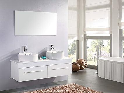 Grafica Ma Ro Srl Meuble Salle De Bain Blanc Vasque Lavabo Modele White Cardellino 150 Cm Amazon Fr Cuisine Maison