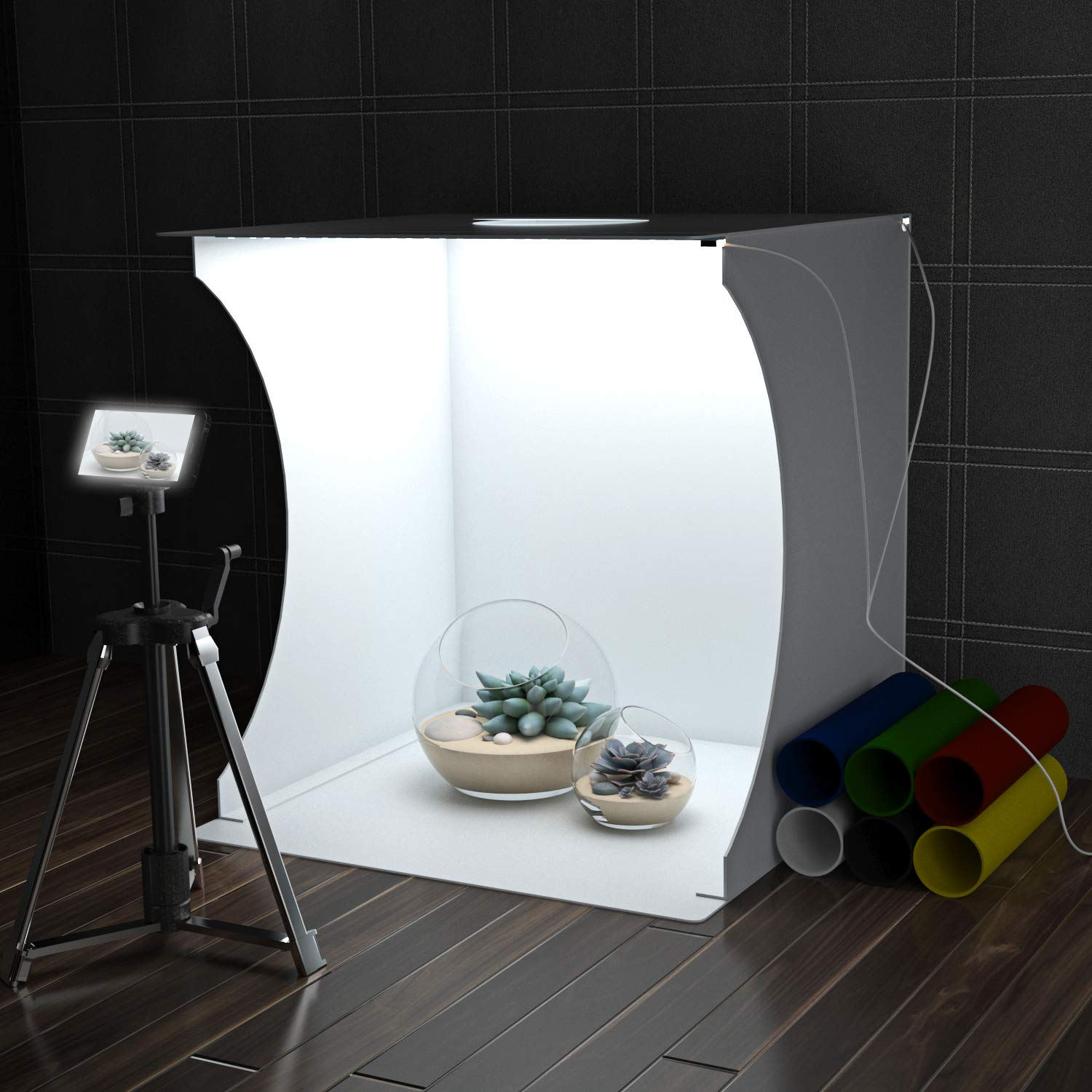Qulable Photo Studio Box, Mini Photo Shooting Tent Kit, Foldable Photography Lighting Softbox with 6 Colors Photography Backdrops Waterproof Background Screen for Advertising Photography Lighting Tool